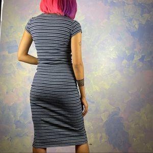 Blue rib knit striped midi dress